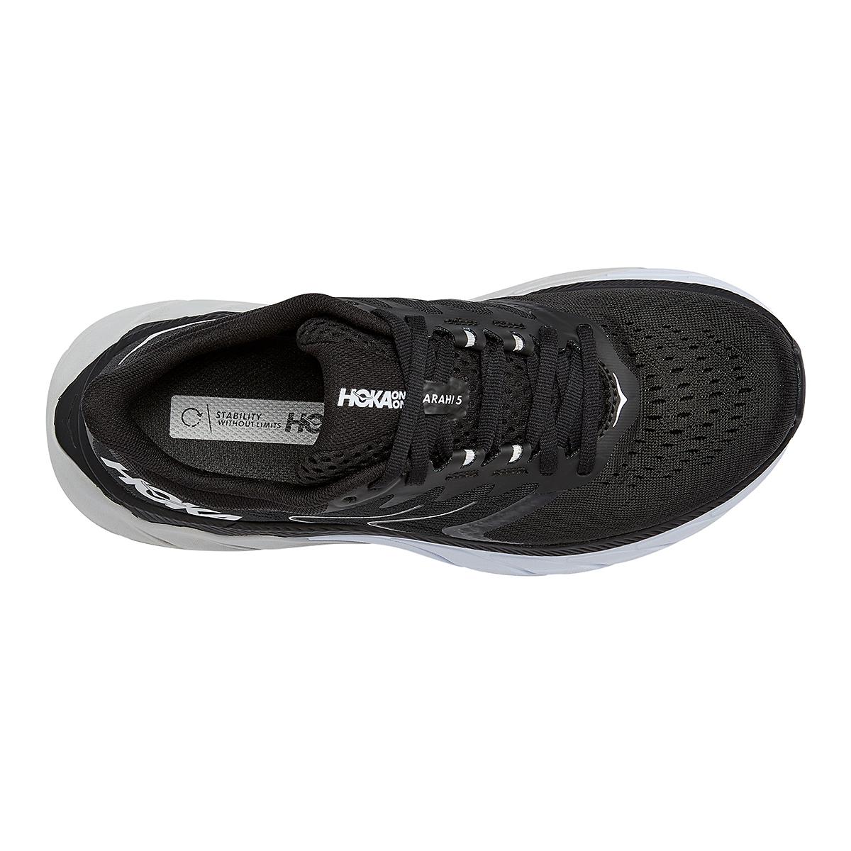 Women's Hoka One One Arahi 5 Running Shoe - Color: Black/White - Size: 5 - Width: Regular, Black/White, large, image 5