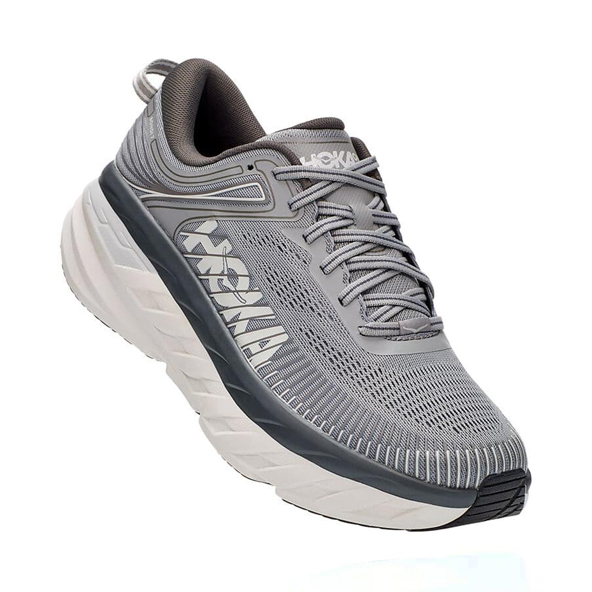 Men's Hoka One One Bondi 7 Running Shoe - Color: Wild Dove/Dark Shadow - Size: 7 - Width: Regular, Wild Dove/Dark Shadow, large, image 3