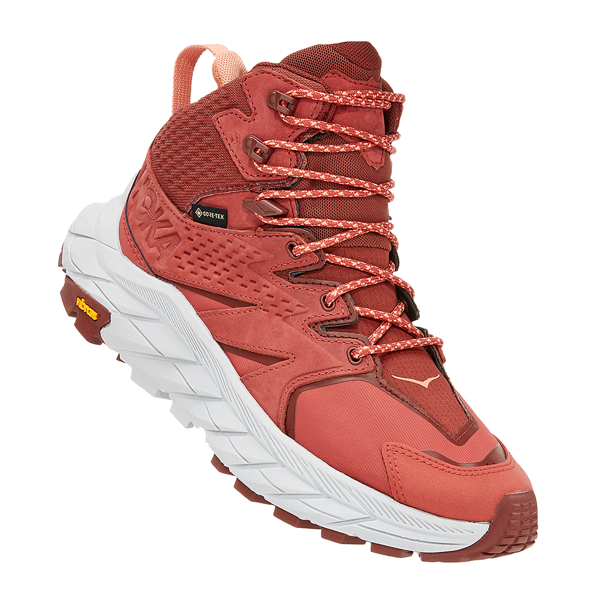 Women's Hoka One One Anacapa Mid Gore-Tex Trail Running Shoe - Color: Hot Sauce/Cherry Mahogany - Size: 5 - Width: Regular, Hot Sauce/Cherry Mahogany, large, image 2