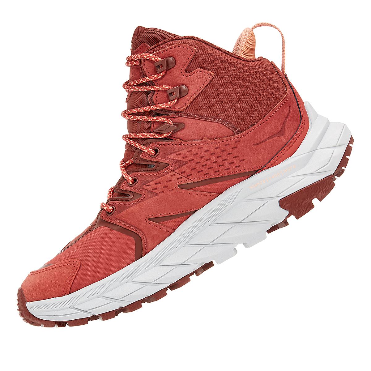 Women's Hoka One One Anacapa Mid Gore-Tex Trail Running Shoe - Color: Hot Sauce/Cherry Mahogany - Size: 5 - Width: Regular, Hot Sauce/Cherry Mahogany, large, image 4