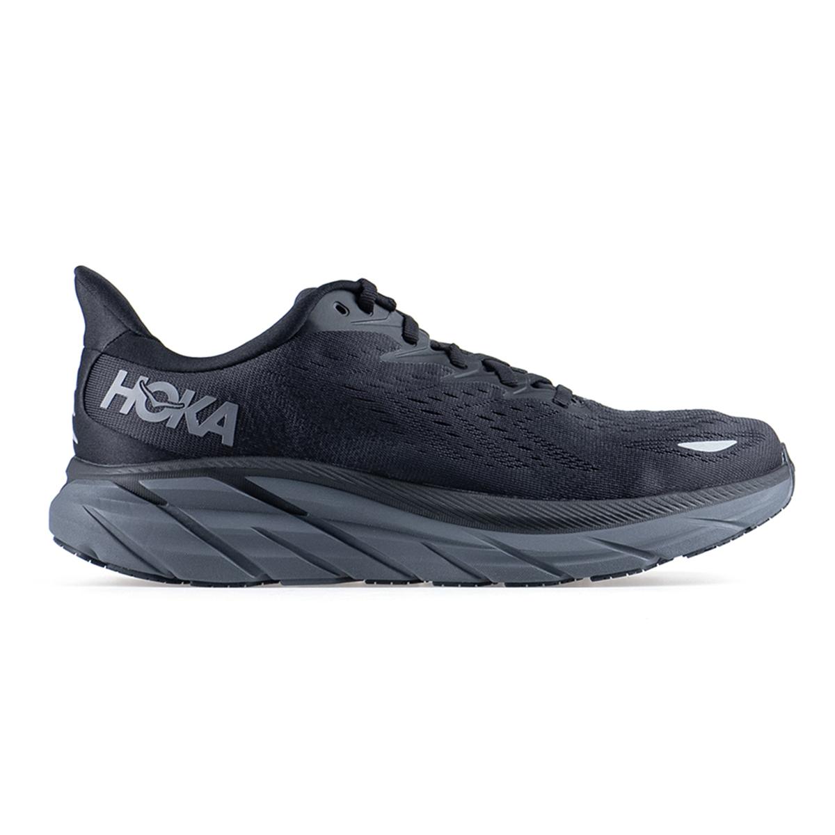 Men's Hoka One One Clifton 8 Running Shoe - Color: Black / Black - Size: 7 - Width: Regular, Black / Black, large, image 1