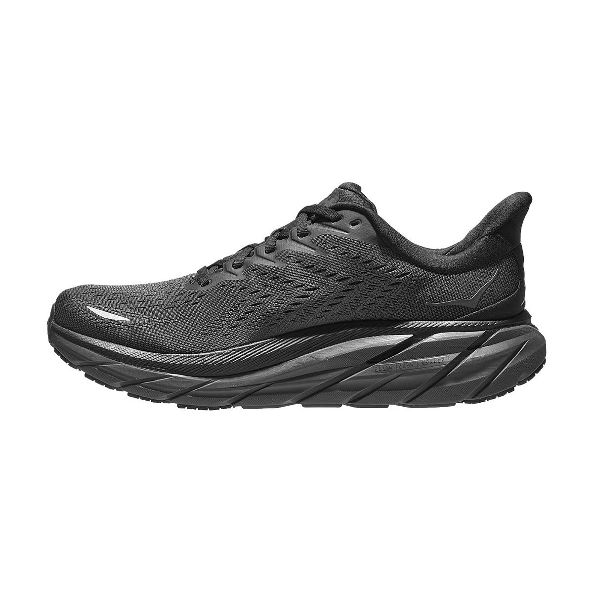 Men's Hoka One One Clifton 8 Running Shoe - Color: Black / Black - Size: 7 - Width: Regular, Black / Black, large, image 2
