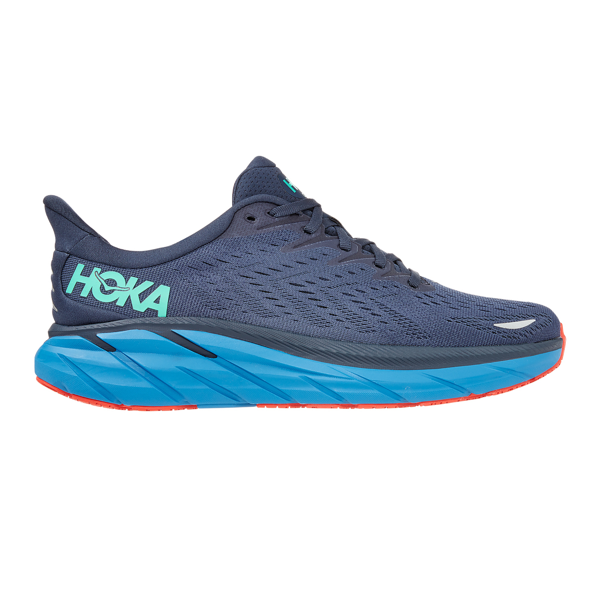 Men's Hoka One One Clifton 8 Running Shoe - Color: Outer Space/Vallarta Blue - Size: 7 - Width: Regular, Outer Space/Vallarta Blue, large, image 1