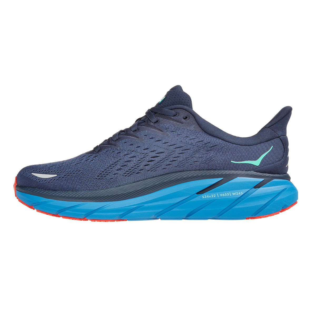 Men's Hoka One One Clifton 8 Running Shoe - Color: Outer Space/Vallarta Blue - Size: 7 - Width: Regular, Outer Space/Vallarta Blue, large, image 2