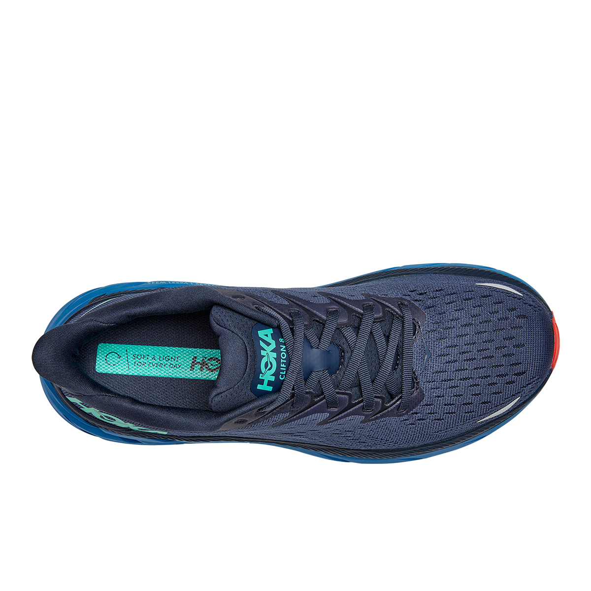 Men's Hoka One One Clifton 8 Running Shoe - Color: Outer Space/Vallarta Blue - Size: 7 - Width: Regular, Outer Space/Vallarta Blue, large, image 3