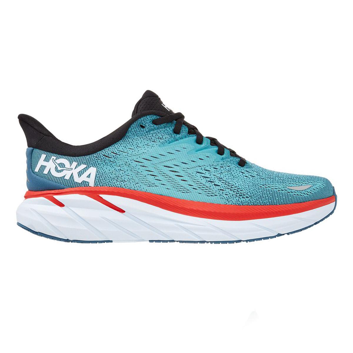 Men's Hoka One One Clifton 8 Running Shoe - Color: Real Teal/Aquarelle - Size: 7 - Width: Regular, Real Teal/Aquarelle, large, image 1