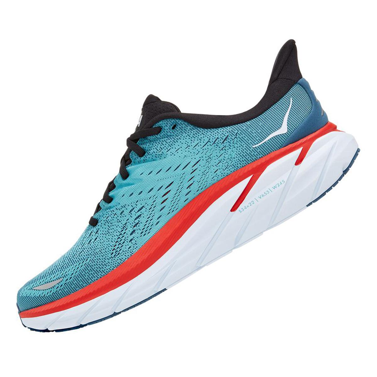 Men's Hoka One One Clifton 8 Running Shoe - Color: Real Teal/Aquarelle - Size: 7 - Width: Regular, Real Teal/Aquarelle, large, image 2