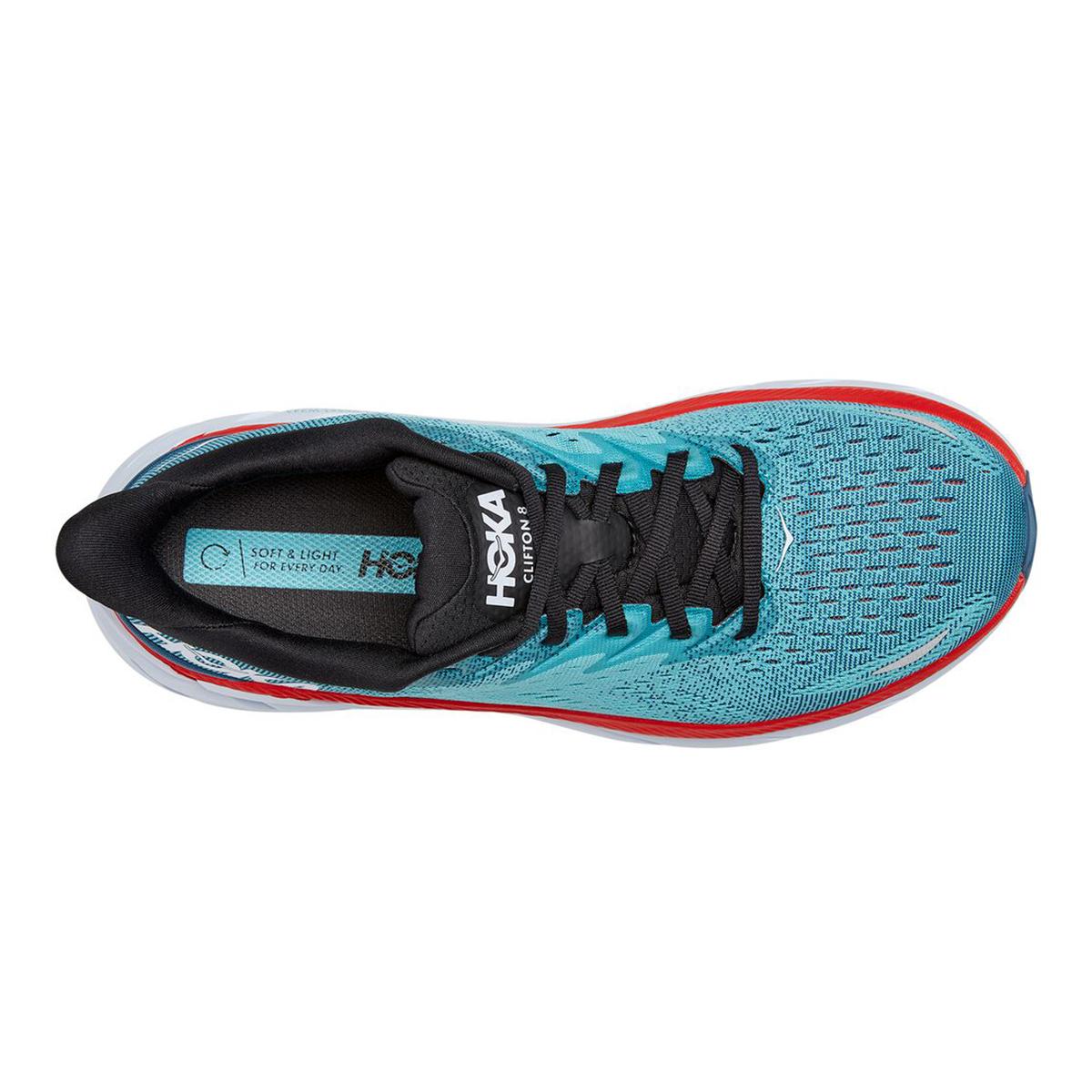 Men's Hoka One One Clifton 8 Running Shoe - Color: Real Teal/Aquarelle - Size: 7 - Width: Regular, Real Teal/Aquarelle, large, image 3