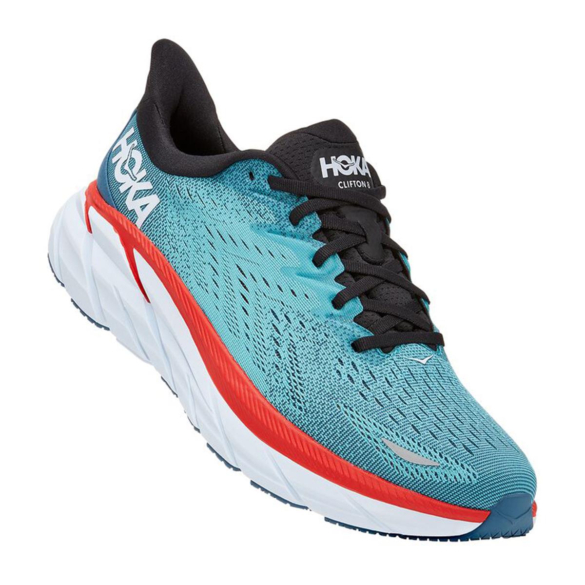 Men's Hoka One One Clifton 8 Running Shoe - Color: Real Teal/Aquarelle - Size: 7 - Width: Regular, Real Teal/Aquarelle, large, image 5