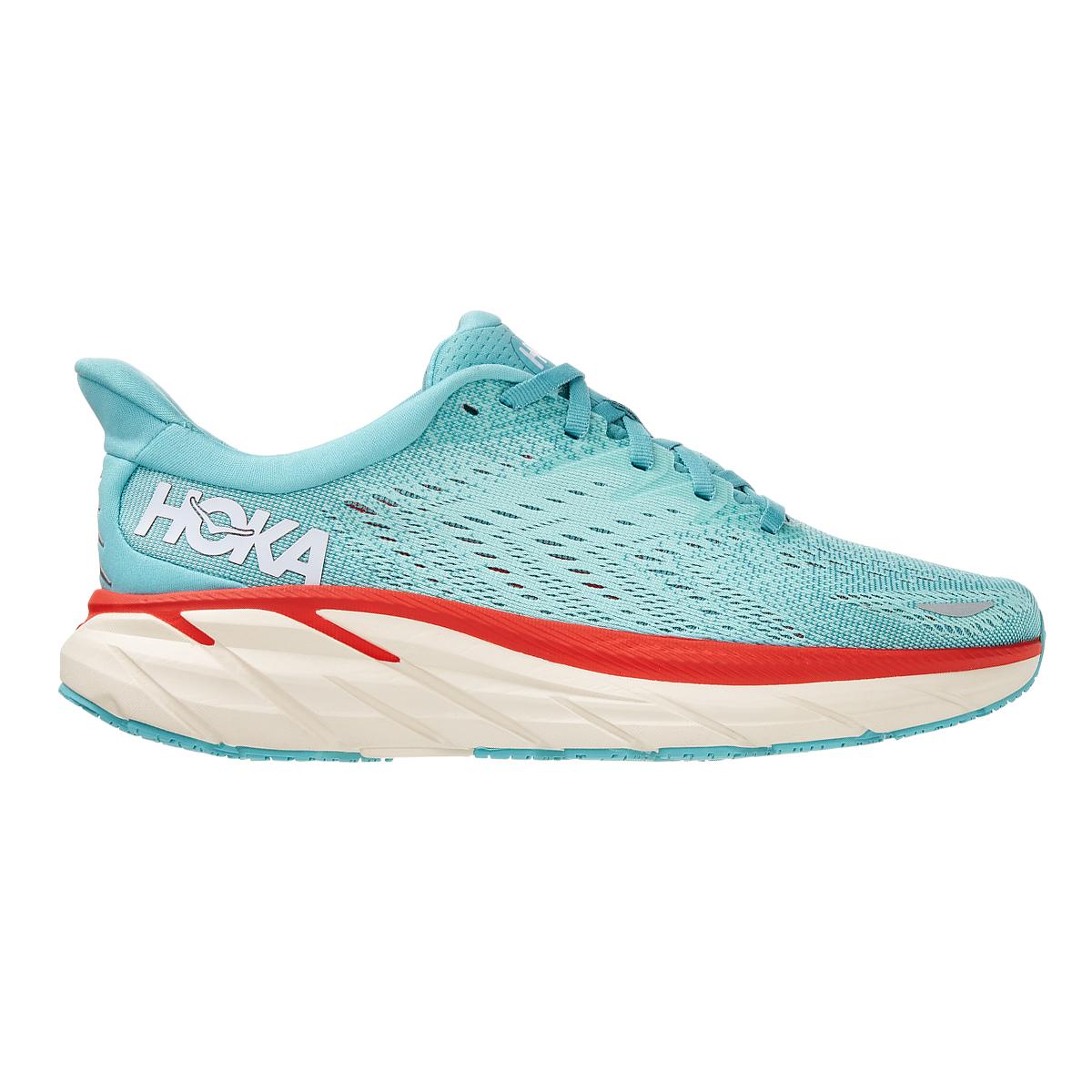 Women's Hoka One One Clifton 8 Running Shoe - Color: Aquarelle / Eggshell Blue - Size: 5 - Width: Regular, Aquarelle / Eggshell Blue, large, image 1