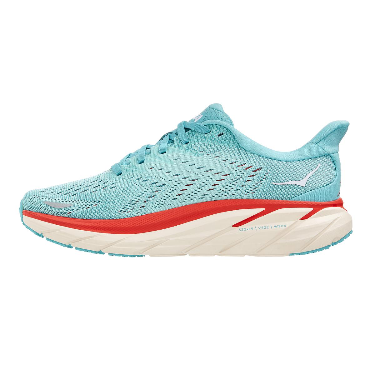 Women's Hoka One One Clifton 8 Running Shoe - Color: Aquarelle / Eggshell Blue - Size: 5 - Width: Regular, Aquarelle / Eggshell Blue, large, image 2