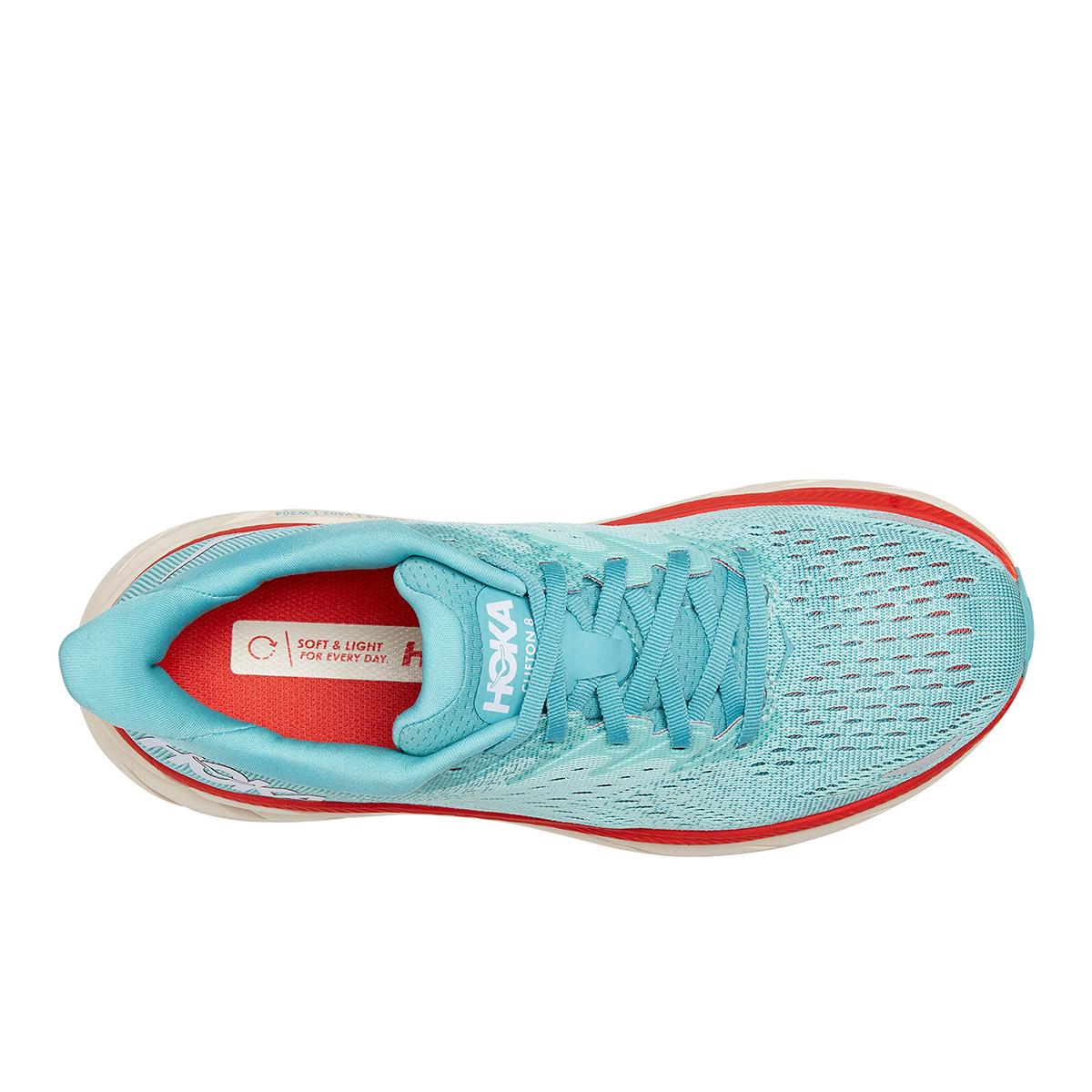 Women's Hoka One One Clifton 8 Running Shoe - Color: Aquarelle / Eggshell Blue - Size: 5 - Width: Regular, Aquarelle / Eggshell Blue, large, image 3