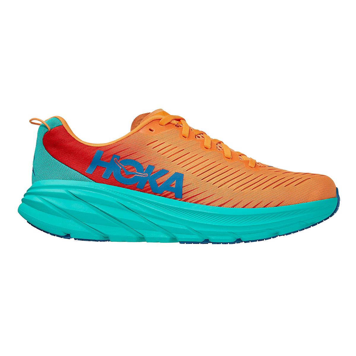 Men's Hoka One One Rincon 3 Running Shoe - Color: Blazing Orange - Size: 7 - Width: Regular, Blazing Orange, large, image 1