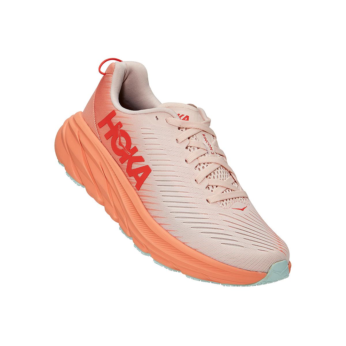 Women's Hoka One One Rincon 3 Running Shoe - Color: Silver Peony/Cantaloupe - Size: 5 - Width: Regular, Silver Peony/Cantaloupe, large, image 2