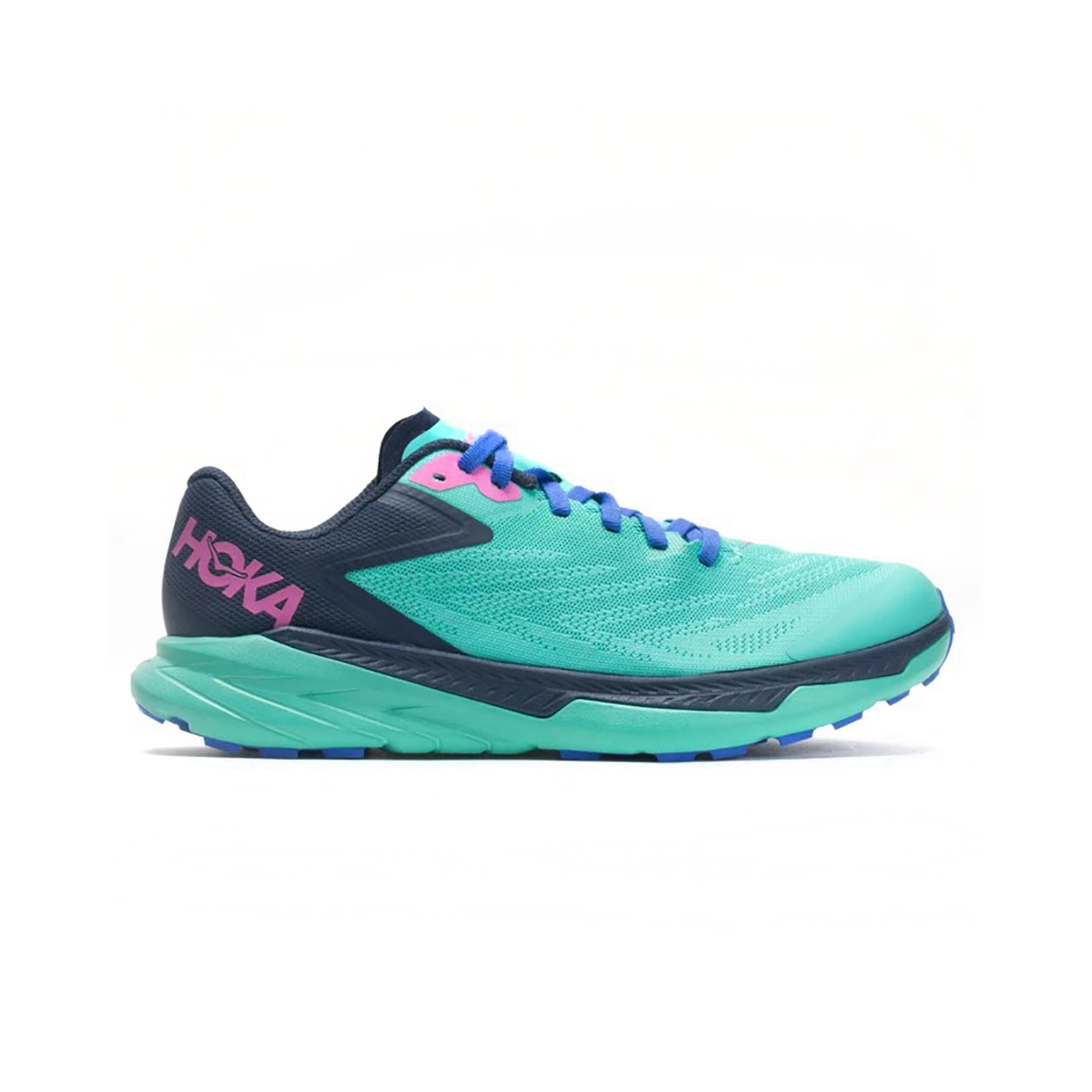 Women's Hoka One One Zinal Trail Running Shoe - Color: Atlantis / Outer Space - Size: 5 - Width: Regular, Atlantis / Outer Space, large, image 1