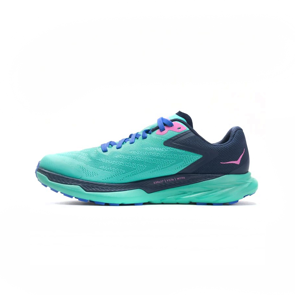 Women's Hoka One One Zinal Trail Running Shoe - Color: Atlantis / Outer Space - Size: 5 - Width: Regular, Atlantis / Outer Space, large, image 2