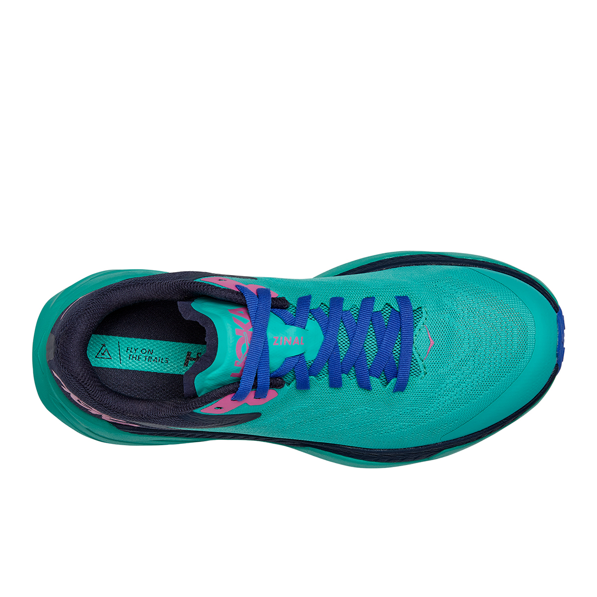 Women's Hoka One One Zinal Trail Running Shoe - Color: Atlantis / Outer Space - Size: 5 - Width: Regular, Atlantis / Outer Space, large, image 3