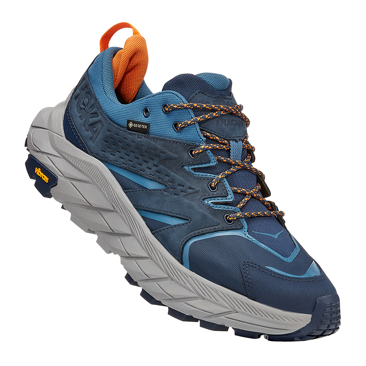 Men's Hoka One One Anacapa Low Gore-Tex Trail Running Shoe - Color: Outer Space/Real Teal - Size: 7 - Width: Regular, Outer Space/Real Teal, large, image 2