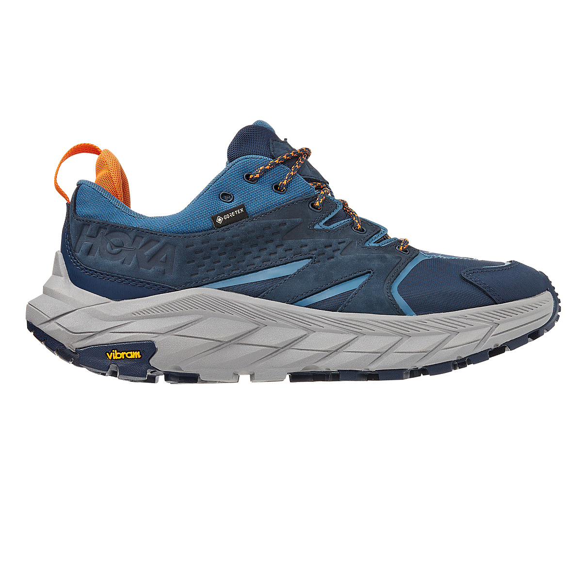 Men's Hoka One One Anacapa Low Gore-Tex Trail Running Shoe - Color: Outer Space/Real Teal - Size: 7 - Width: Regular, Outer Space/Real Teal, large, image 1