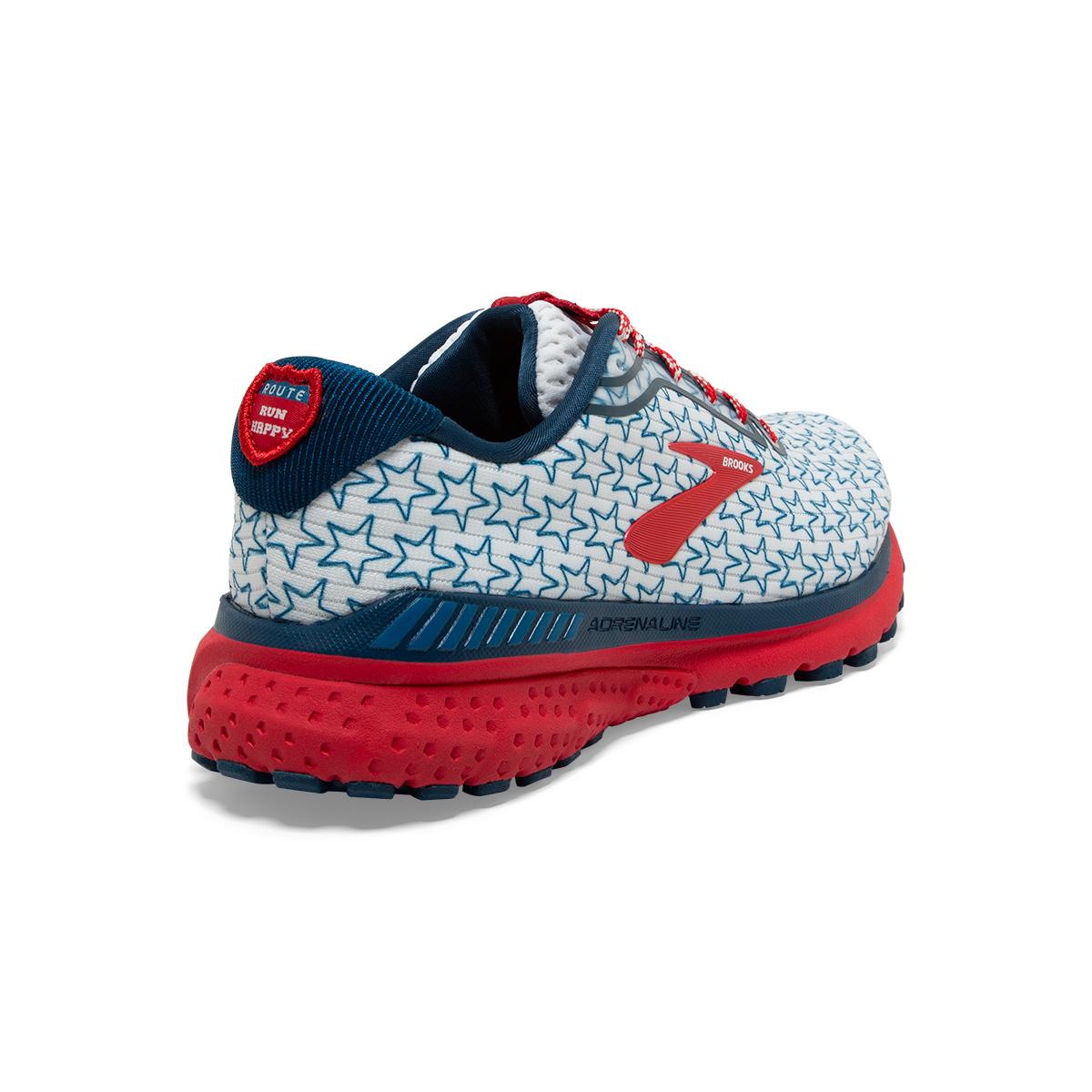Women's Brooks Adrenaline GTS 20 Running Shoe - Color: White/Gibraltar - Size: 5 - Width: Regular, White/Gibraltar, large, image 4