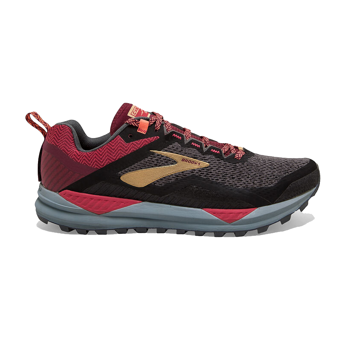 Women's Brooks Cascadia 14 Trail Running Shoe - Color: Black/Rumba Red - Size: 5 - Width: Regular, Black/Rumba Red, large, image 1