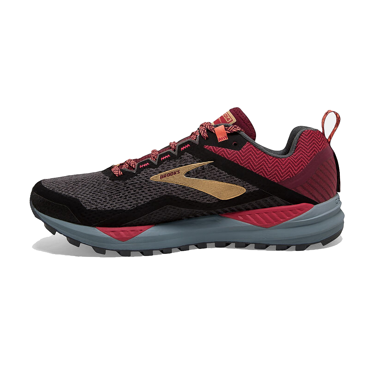 Women's Brooks Cascadia 14 Trail Running Shoe - Color: Black/Rumba Red - Size: 5 - Width: Regular, Black/Rumba Red, large, image 2