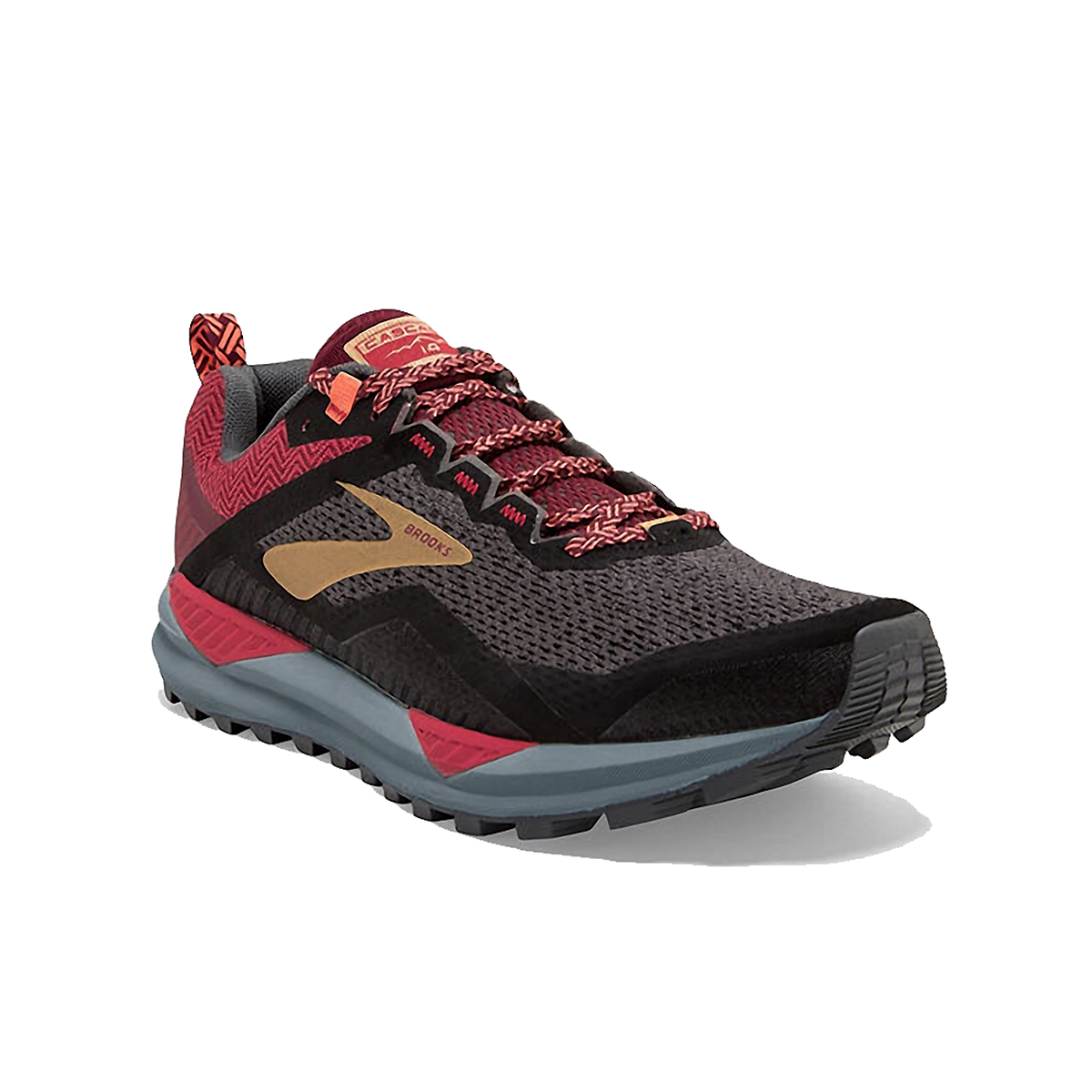 Women's Brooks Cascadia 14 Trail Running Shoe - Color: Black/Rumba Red - Size: 5 - Width: Regular, Black/Rumba Red, large, image 4