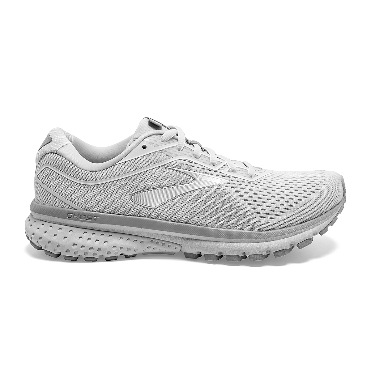 Women's Brooks Ghost 12 Running Shoe - Color: Oyster/Alloy/White - Size: 8.5 - Width: Regular, Oyster/Alloy/White, large, image 1