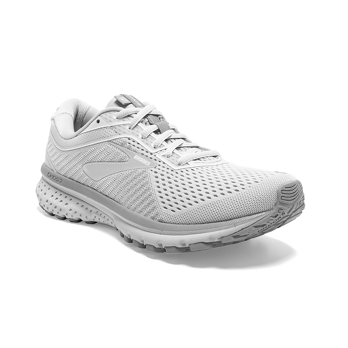 Women's Brooks Ghost 12 Running Shoe - Color: Oyster/Alloy/White - Size: 8.5 - Width: Regular, Oyster/Alloy/White, large, image 2