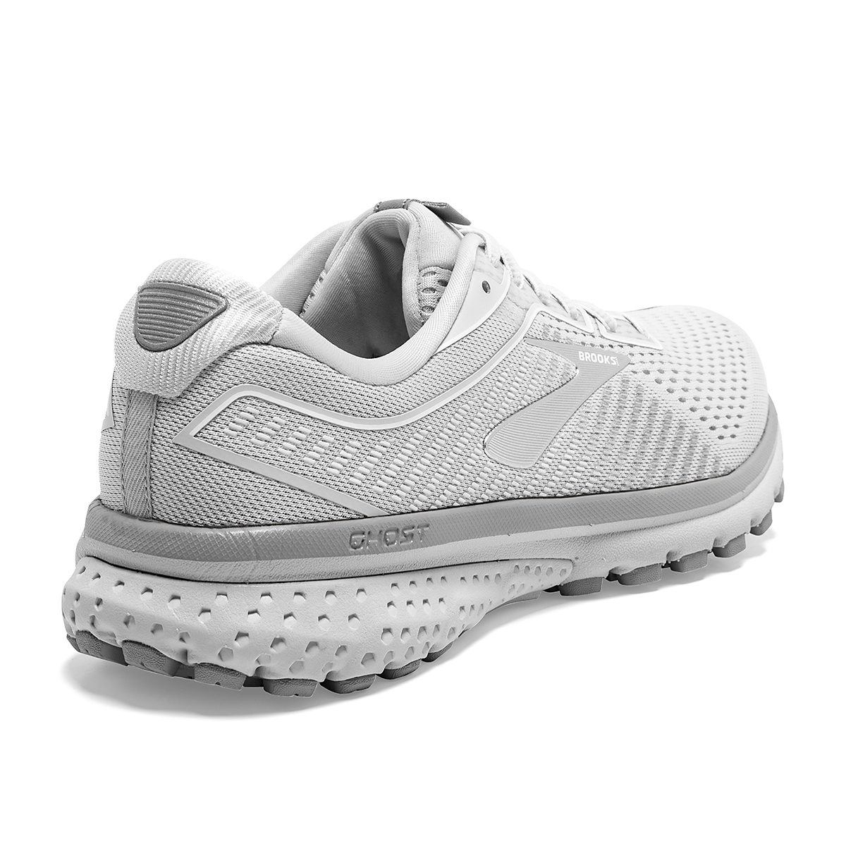 Women's Brooks Ghost 12 Running Shoe - Color: Oyster/Alloy/White - Size: 8.5 - Width: Regular, Oyster/Alloy/White, large, image 4