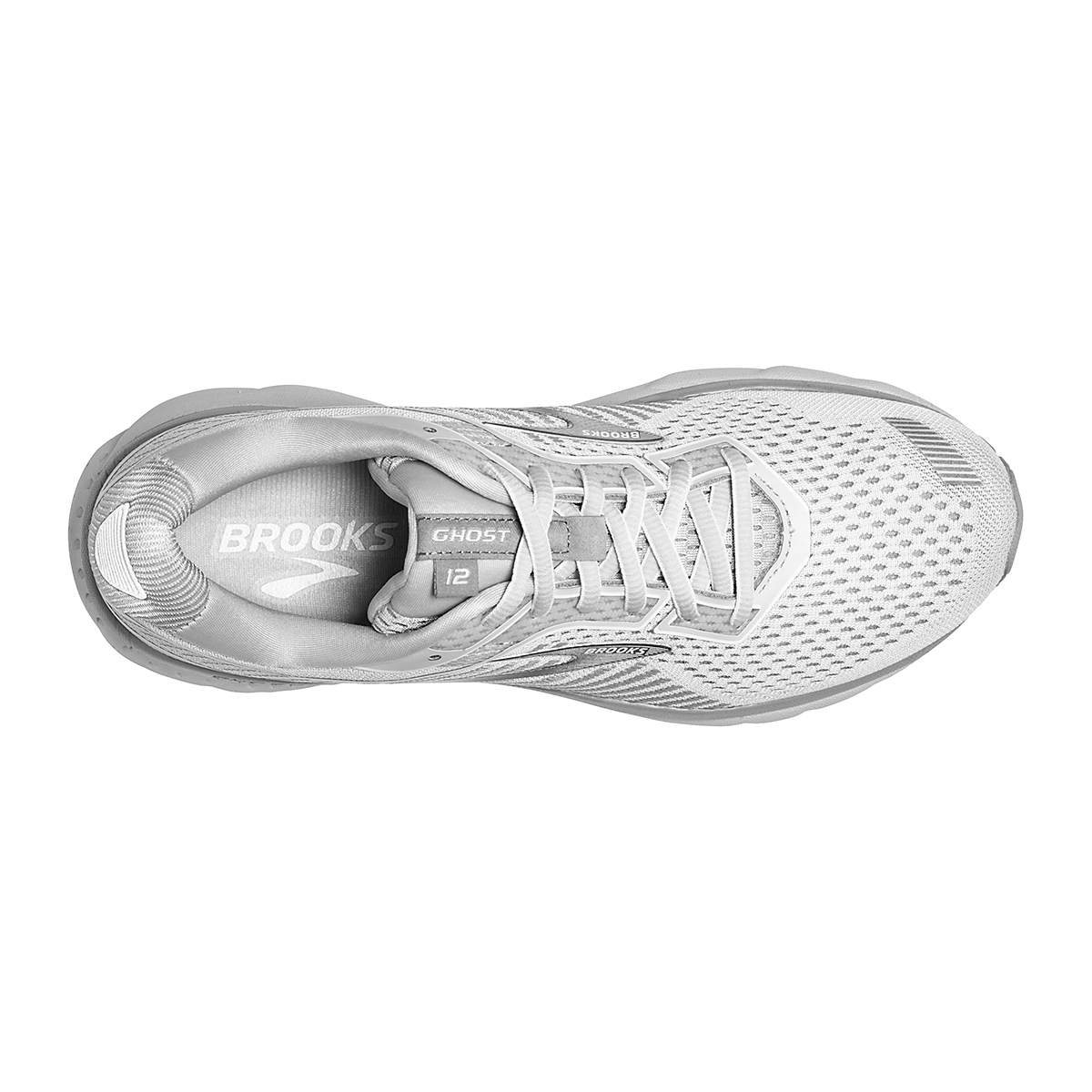 Women's Brooks Ghost 12 Running Shoe - Color: Oyster/Alloy/White - Size: 8.5 - Width: Regular, Oyster/Alloy/White, large, image 5