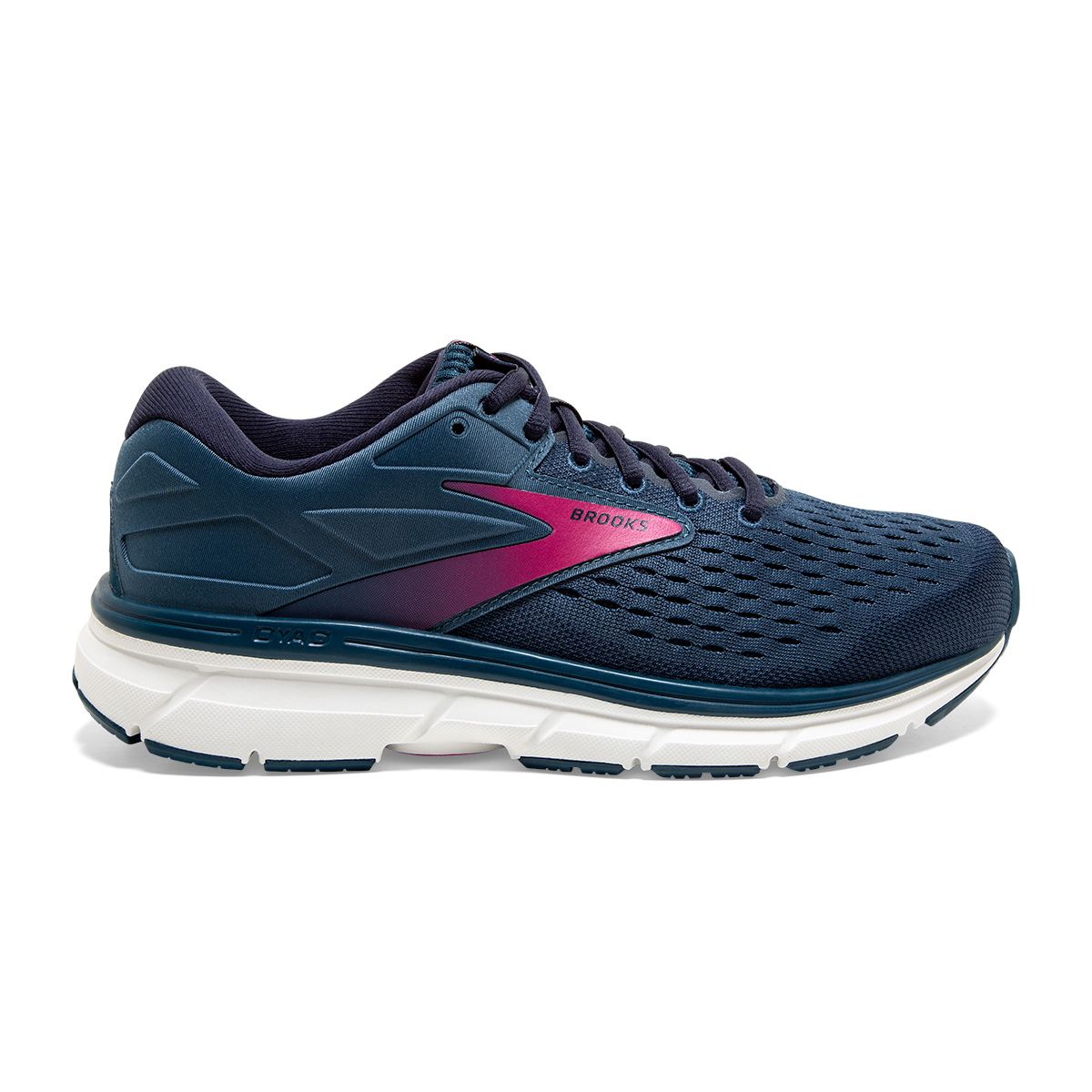 Women's Brooks Dyad 11 Running Shoe - Color: Blue/Navy/Beetroot (Regular Width) - Size: 7.5, Blue/Navy/Beetroot, large, image 1