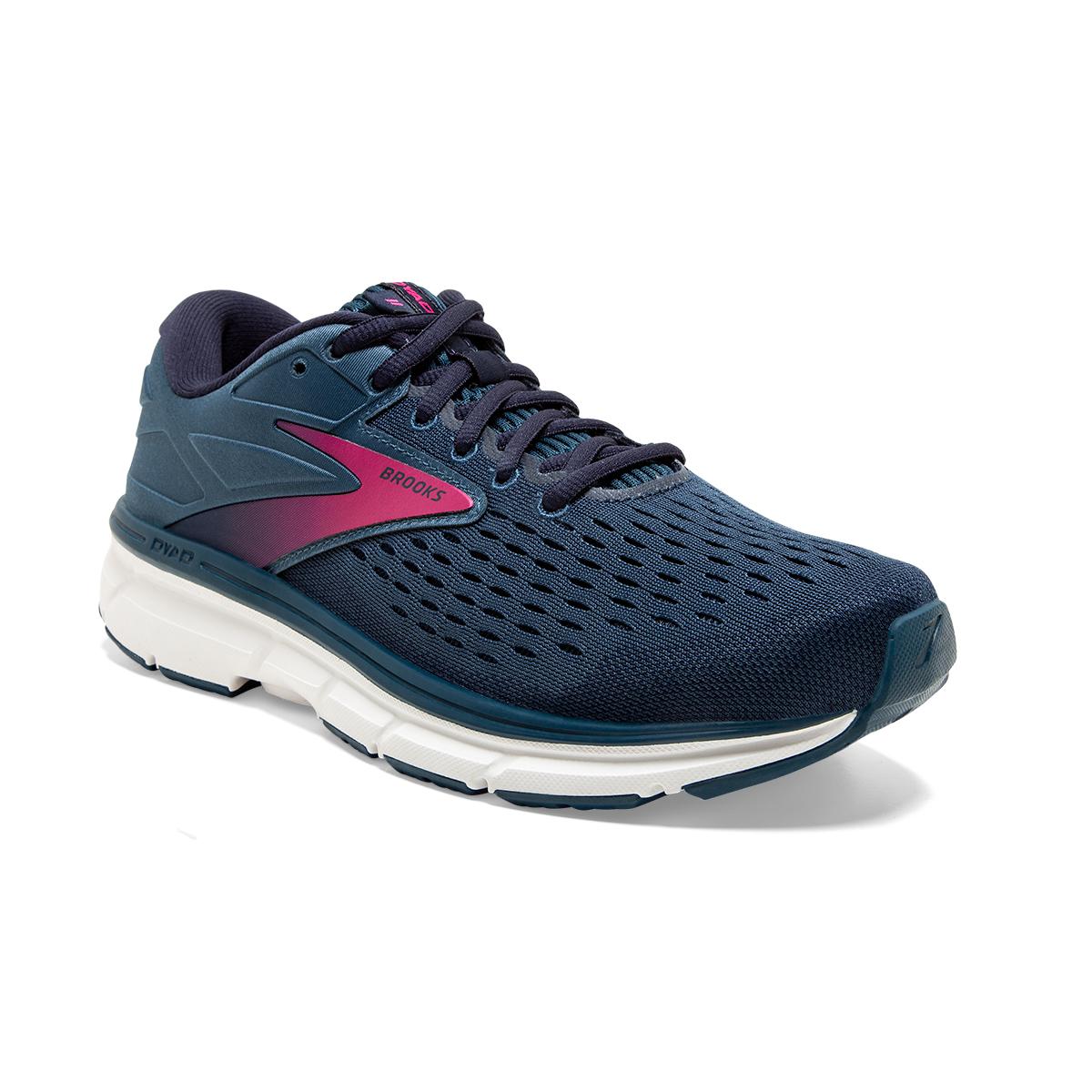 Women's Brooks Dyad 11 Running Shoe - Color: Blue/Navy/Beetroot (Regular Width) - Size: 7.5, Blue/Navy/Beetroot, large, image 3