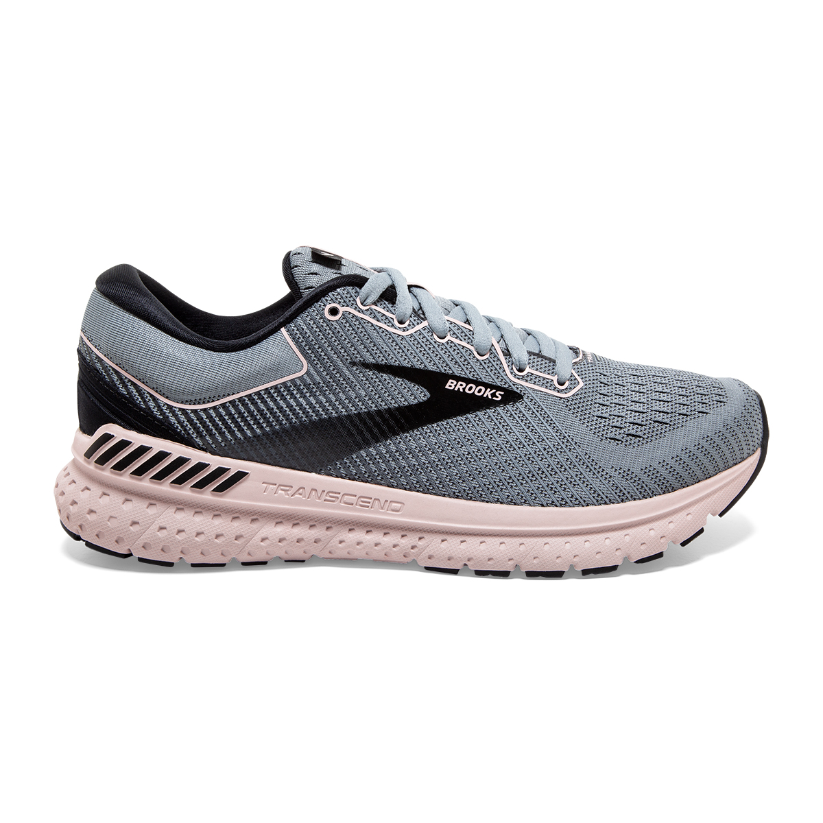 Women's Brooks Transcend 7 Running Shoe - Color: Grey/Black/Hushed Pink - Size: 6 - Width: Regular, Grey/Black/Hushed Pink, large, image 1