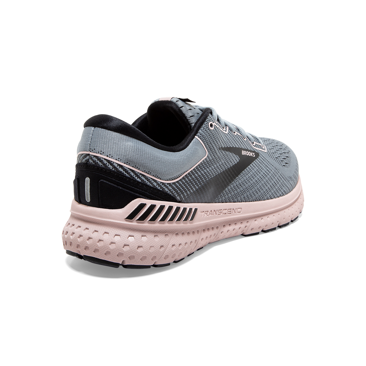 Women's Brooks Transcend 7 Running Shoe - Color: Grey/Black/Hushed Pink - Size: 6 - Width: Regular, Grey/Black/Hushed Pink, large, image 4