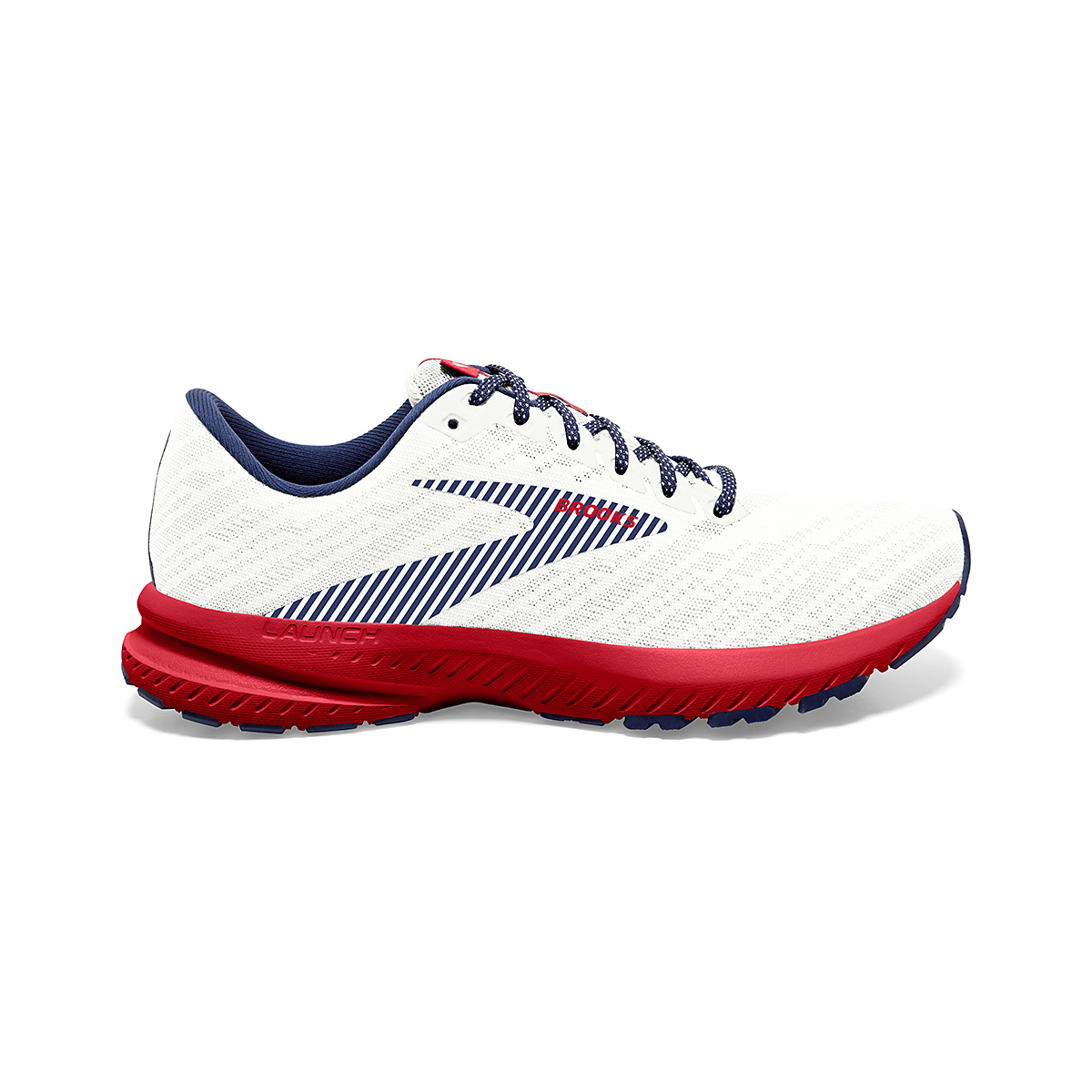 Women's Brooks Launch 7 Usa Running Shoe - Color: White/Blue/Red - Size: 6.5 - Width: Regular, White/Blue/Red, large, image 1