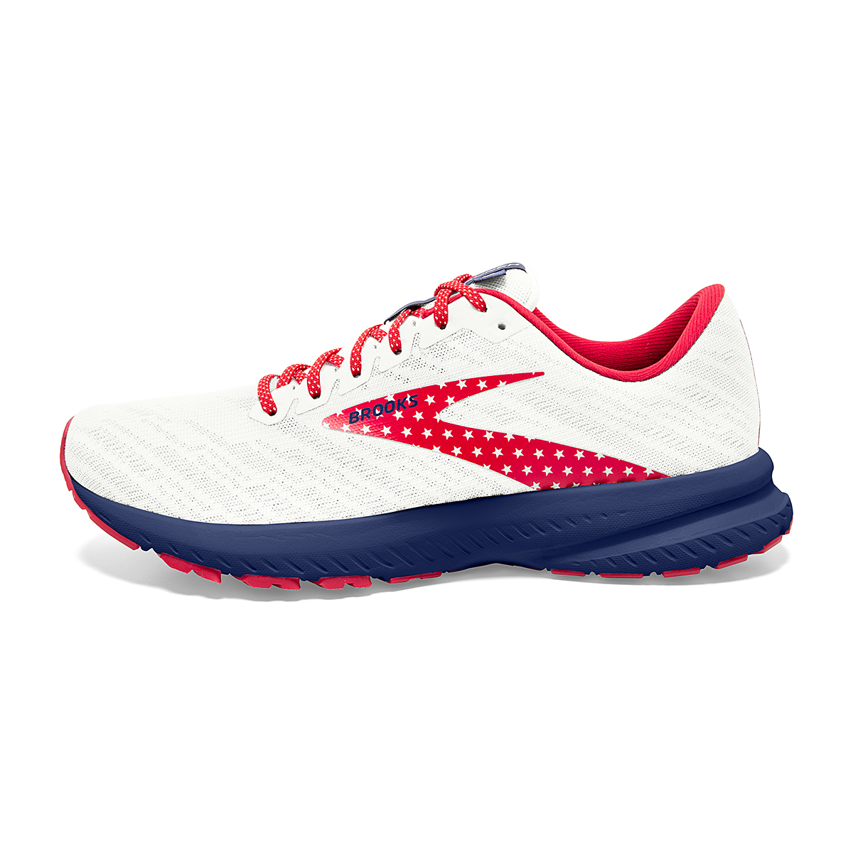 Women's Brooks Launch 7 Usa Running Shoe - Color: White/Blue/Red - Size: 6.5 - Width: Regular, White/Blue/Red, large, image 2