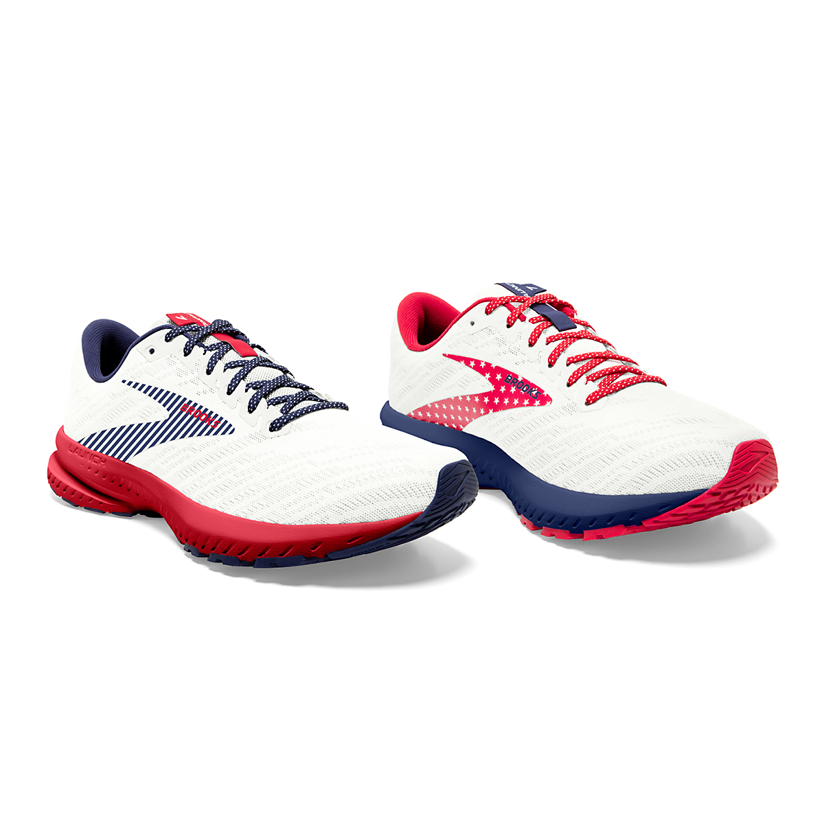 Women's Brooks Launch 7 Usa Running Shoe - Color: White/Blue/Red - Size: 6.5 - Width: Regular, White/Blue/Red, large, image 3