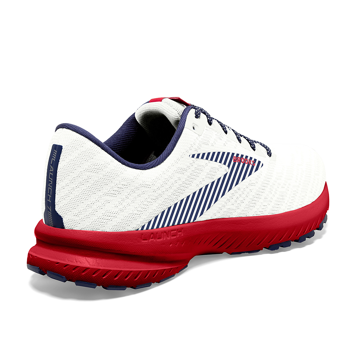 Women's Brooks Launch 7 Usa Running Shoe - Color: White/Blue/Red - Size: 6.5 - Width: Regular, White/Blue/Red, large, image 4