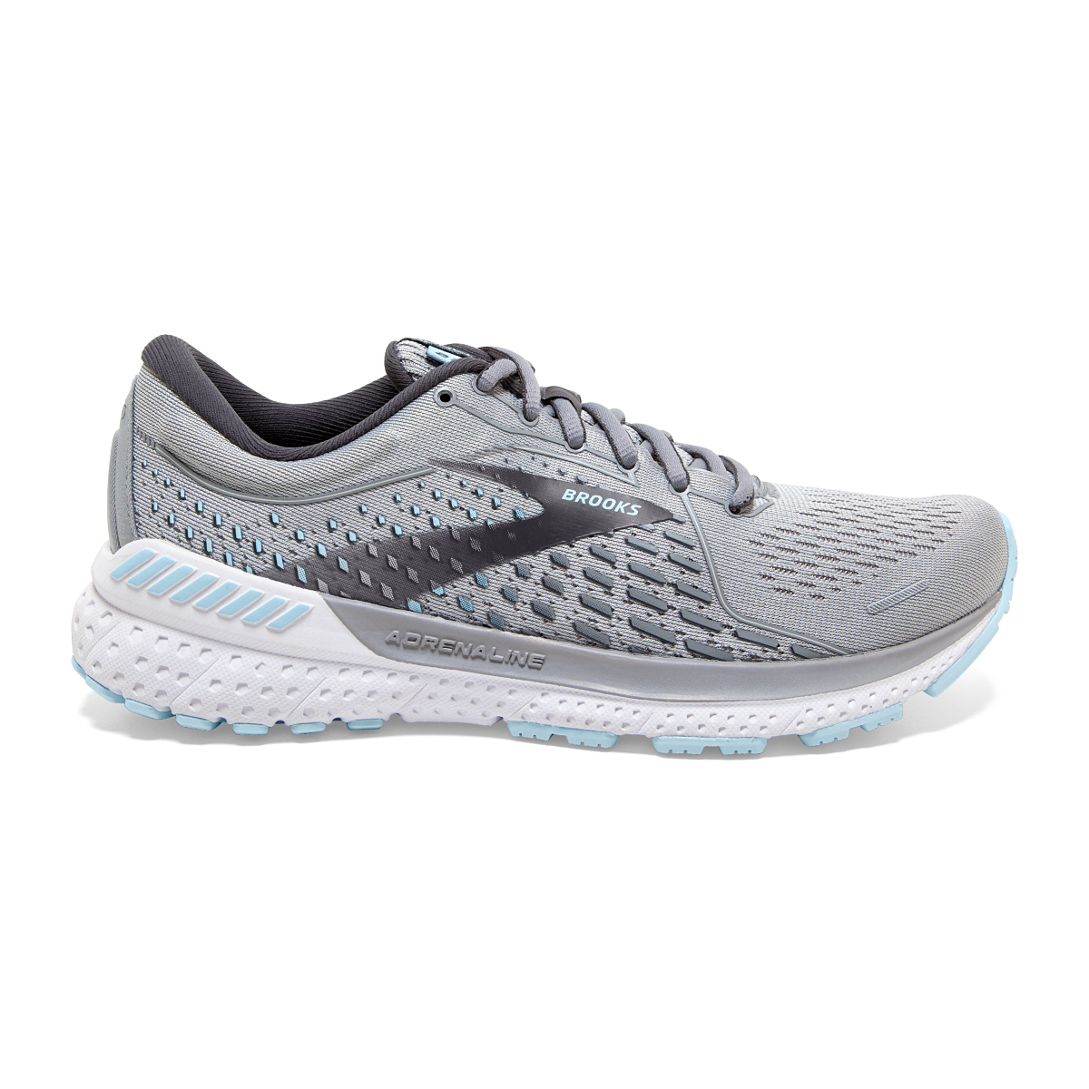Women's Brooks Adrenaline GTS 21 Running Shoe - Color: Oyster/Alloy/Blue - Size: 5.5 - Width: Regular, Oyster/Alloy/Blue, large, image 1