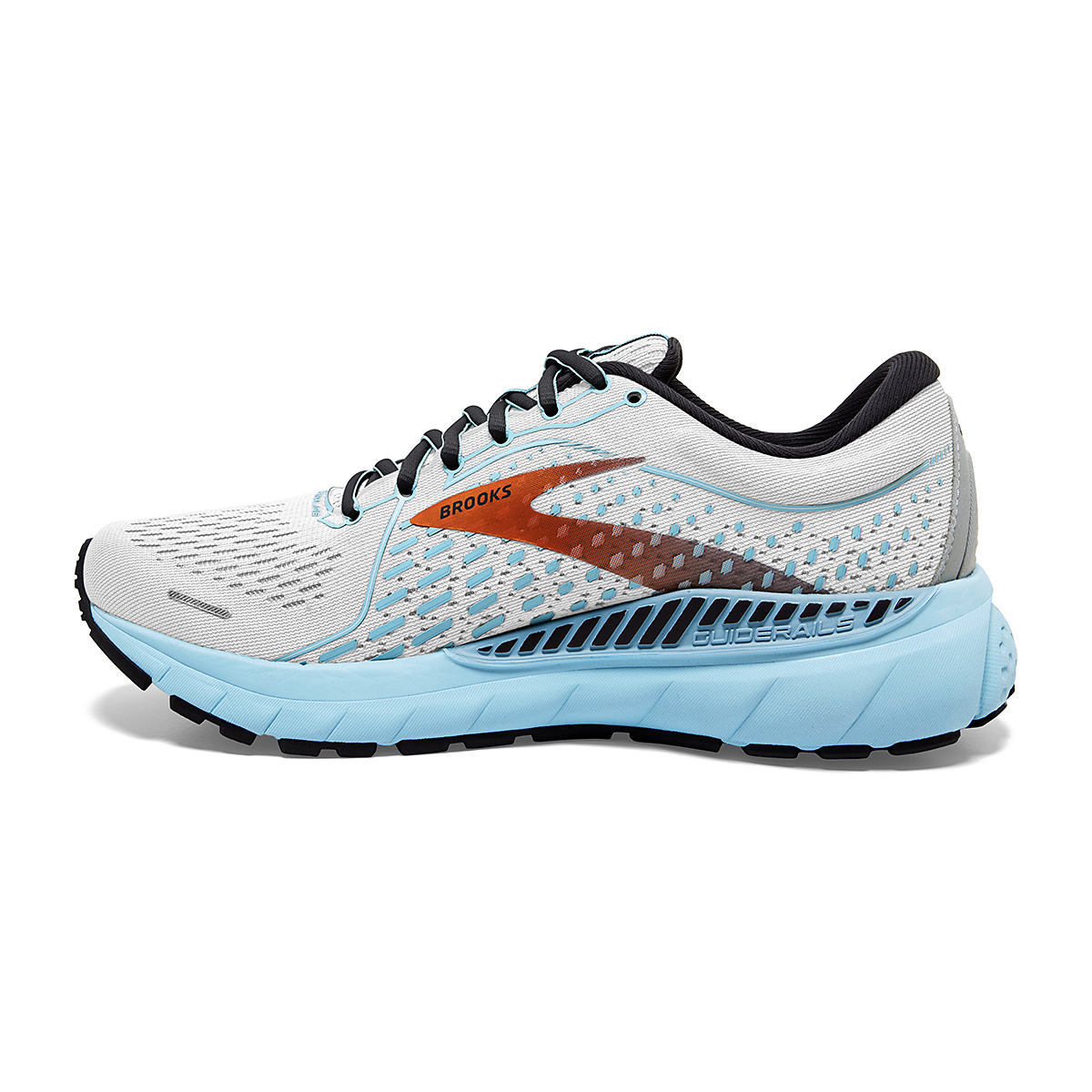Women's Brooks Adrenaline GTS 21 Running Shoe - Color: White/Alloy - Size: 5 - Width: Regular, White/Alloy, large, image 2