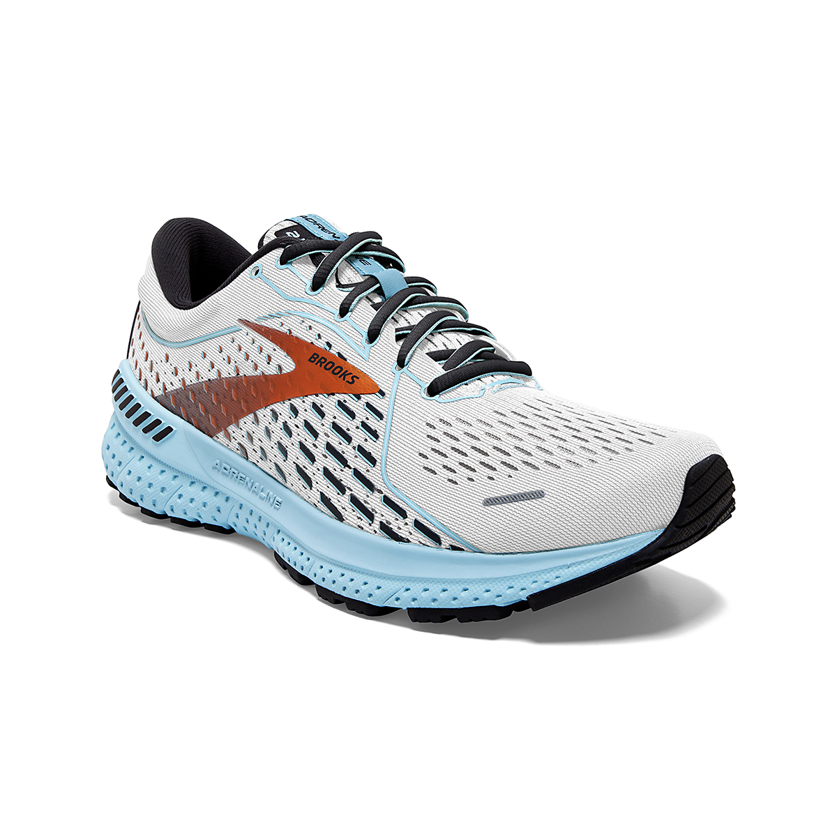 Women's Brooks Adrenaline GTS 21 Running Shoe - Color: White/Alloy - Size: 5 - Width: Regular, White/Alloy, large, image 3