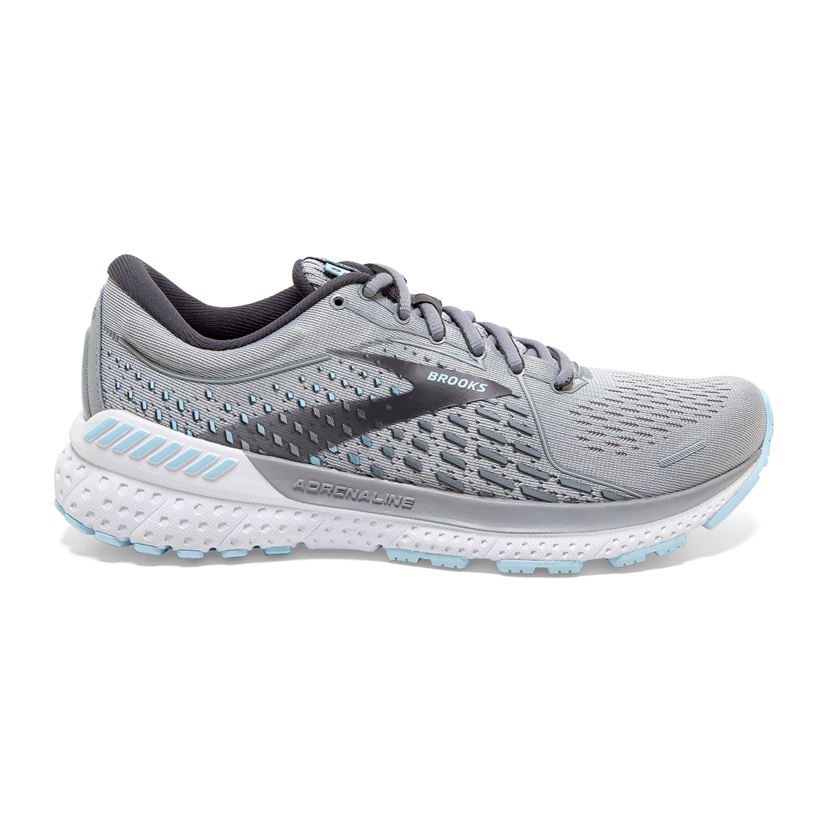 Women's Brooks Adrenaline GTS 21 Running Shoe - Color: Oyster/Alloy/Light Blue - Size: 5 - Width: Wide, Oyster/Alloy/Light Blue, large, image 1