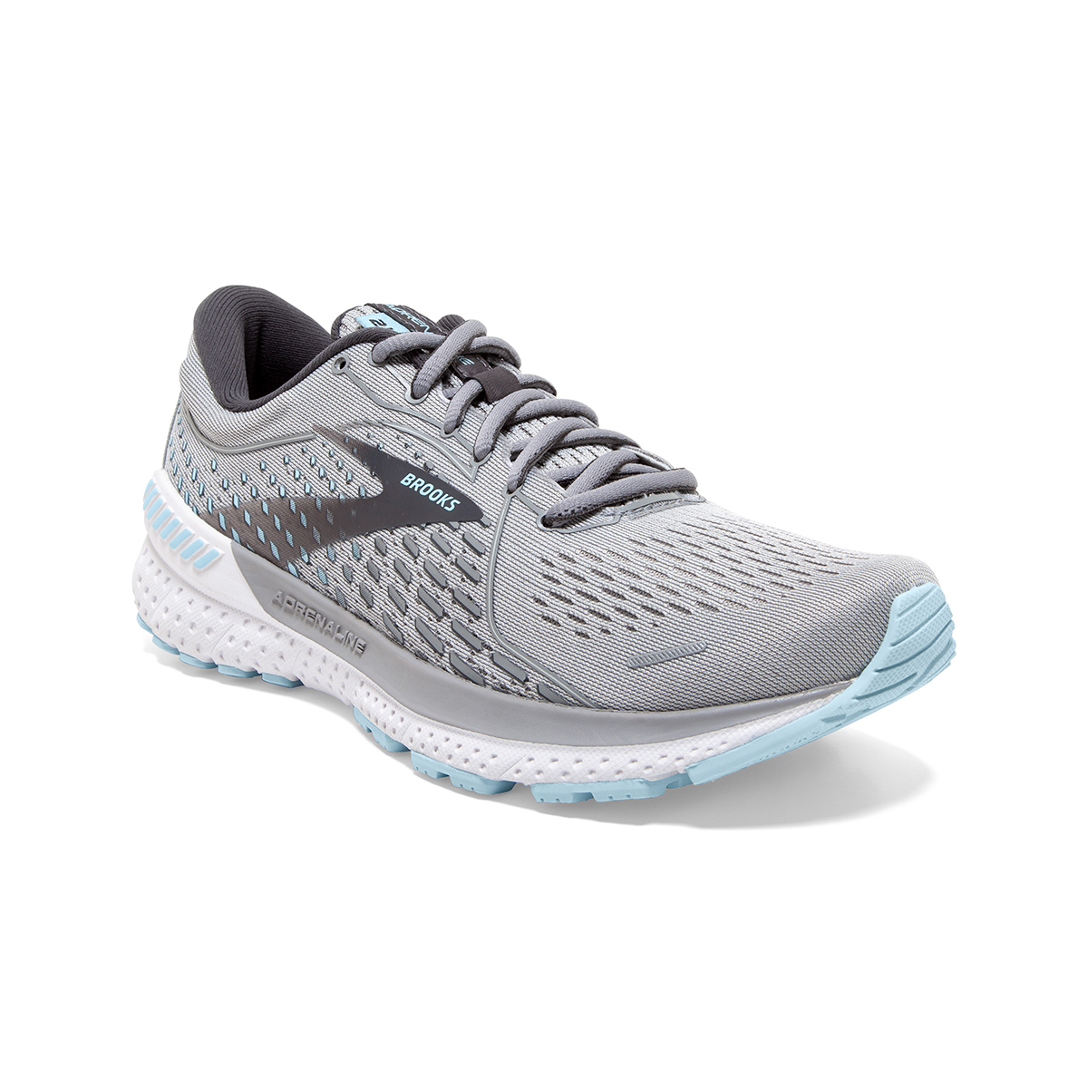 Women's Brooks Adrenaline GTS 21 Running Shoe - Color: Oyster/Alloy/Light Blue - Size: 5 - Width: Wide, Oyster/Alloy/Light Blue, large, image 2