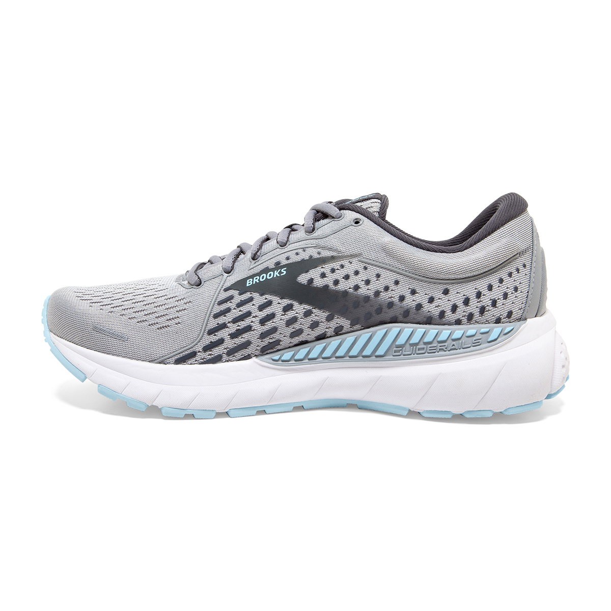 Women's Brooks Adrenaline GTS 21 Running Shoe - Color: Oyster/Alloy/Light Blue - Size: 5 - Width: Wide, Oyster/Alloy/Light Blue, large, image 3
