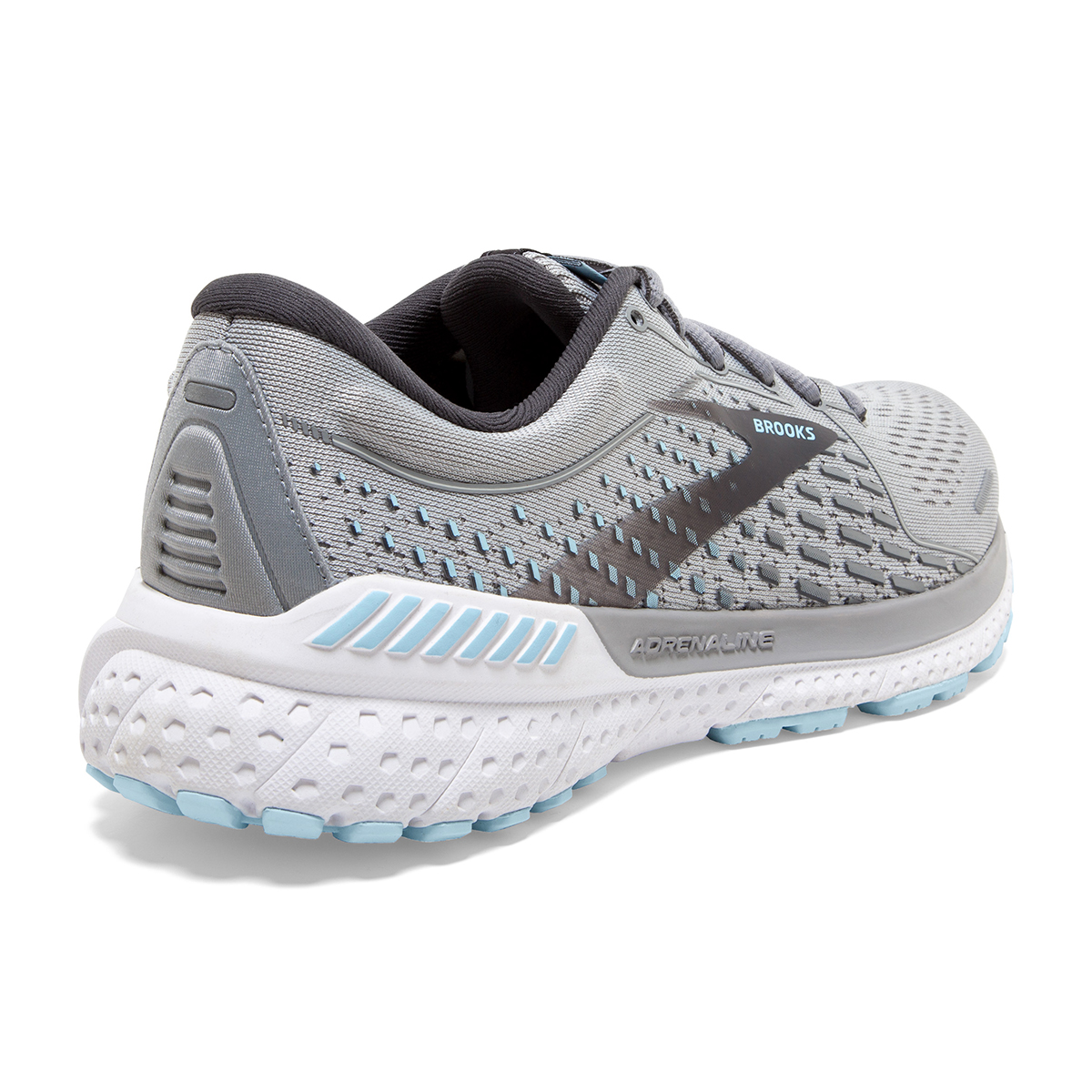 Women's Brooks Adrenaline GTS 21 Running Shoe - Color: Oyster/Alloy/Light Blue - Size: 5 - Width: Wide, Oyster/Alloy/Light Blue, large, image 4