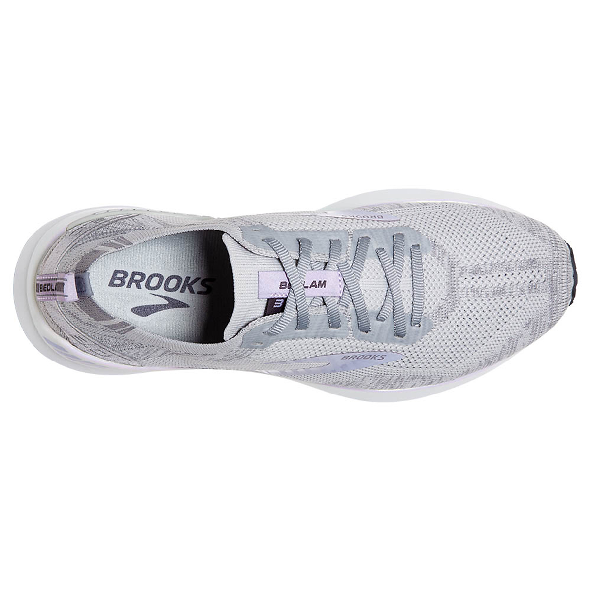 Women's Brooks Bedlam 3 Running Shoe - Color: Oyster/Purple Heather - Size: 5 - Width: Regular, Oyster/Purple Heather, large, image 5
