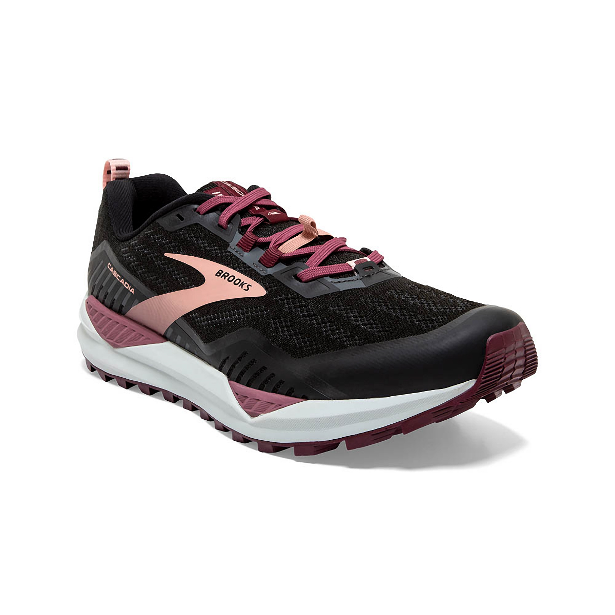 Women's Brooks Cascadia 15 Trail Running Shoe - Color: Black/Ebony/Coral - Size: 10.5 - Width: Regular, Black/Ebony/Coral, large, image 3