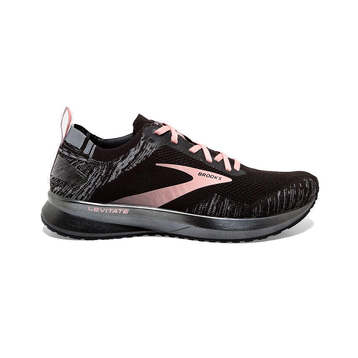 Women's Brooks Levitate 4 Running Shoe - Color: Black/Grey/Coral - Size: 5 - Width: Regular, Black/Grey/Coral, large, image 1