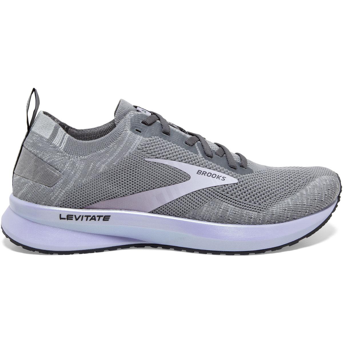 Women's Brooks Levitate 4 Running Shoe - Color: Grey/Blackened Pearl/Purple - Size: 5 - Width: Regular, Grey/Blackened Pearl/Purple, large, image 1